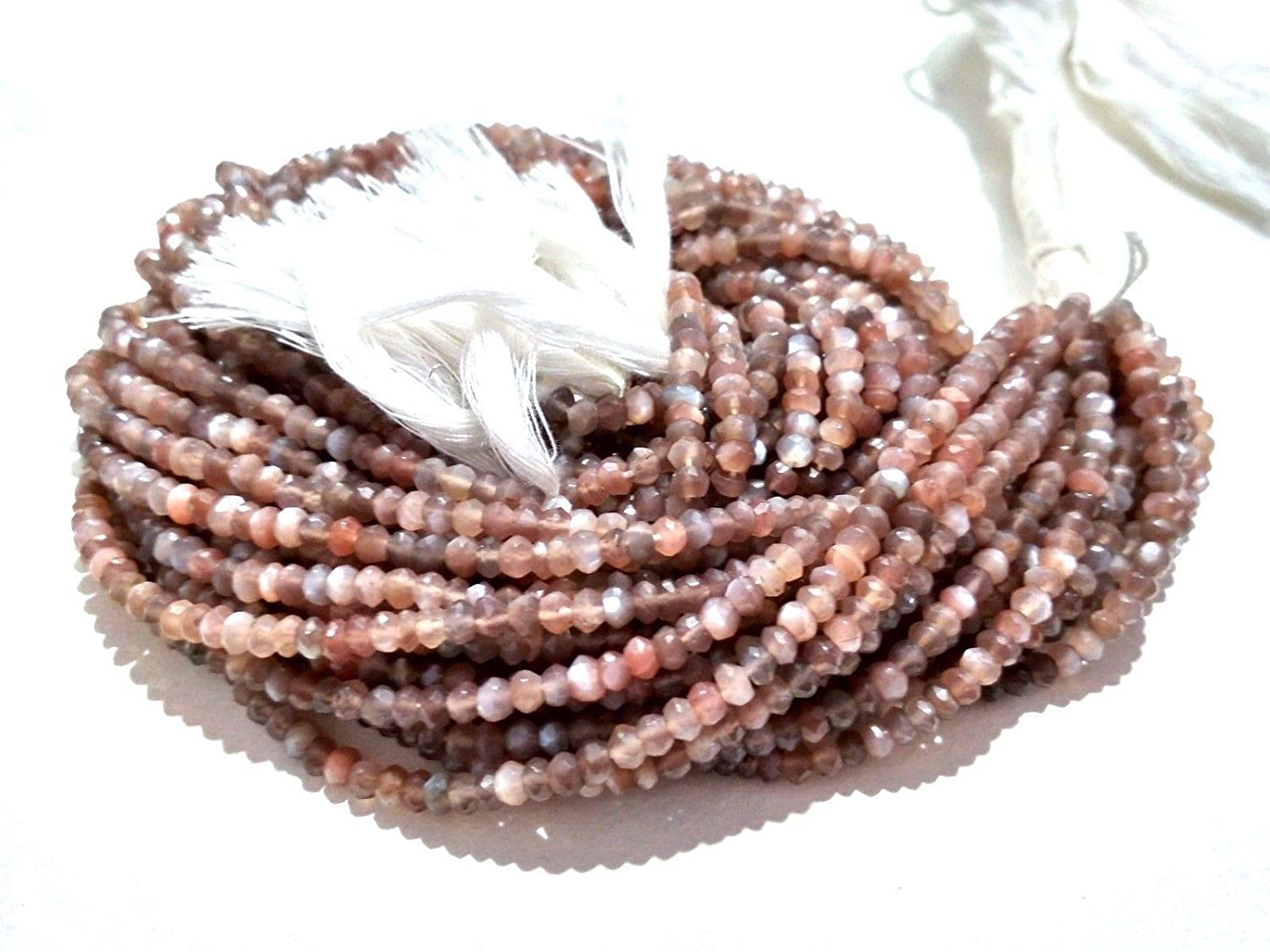 Mughal Gems /& Jewellery Natural Chocolate Moonstone Rondelle Faceted 4mm Approx Beads 13 Inch