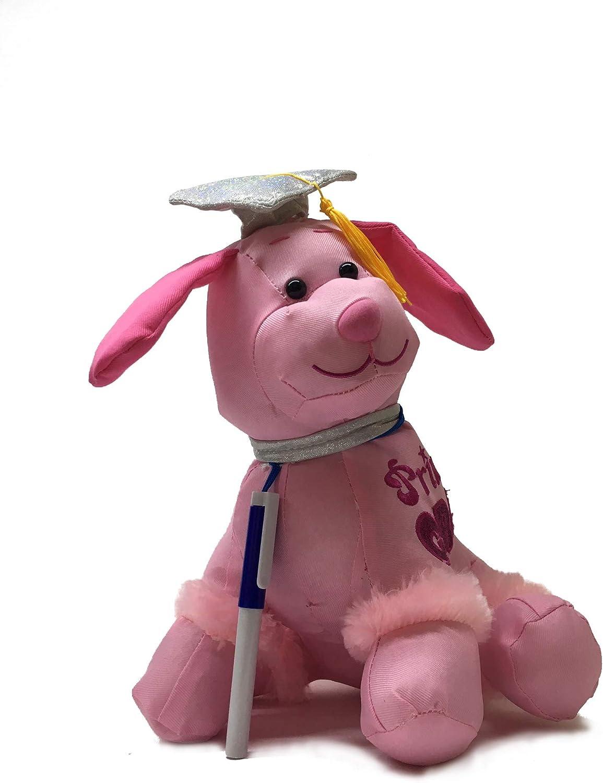 "PINK Graduation Autograph Stuffed Dog with Pen /""Congrats Grad!/"" 12/"""