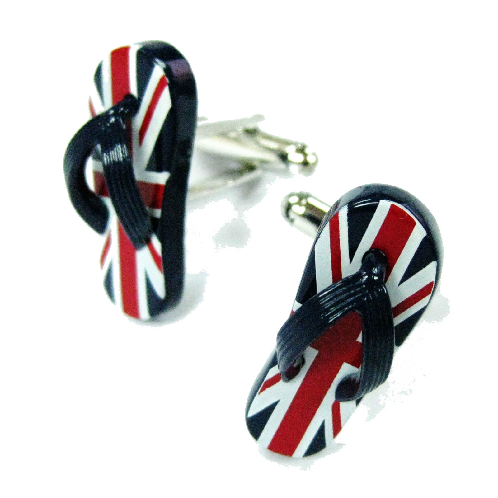 Mens Executive Cufflinks Summer Sun British Flag Flip Flop Sandal Shoe Cuff Links