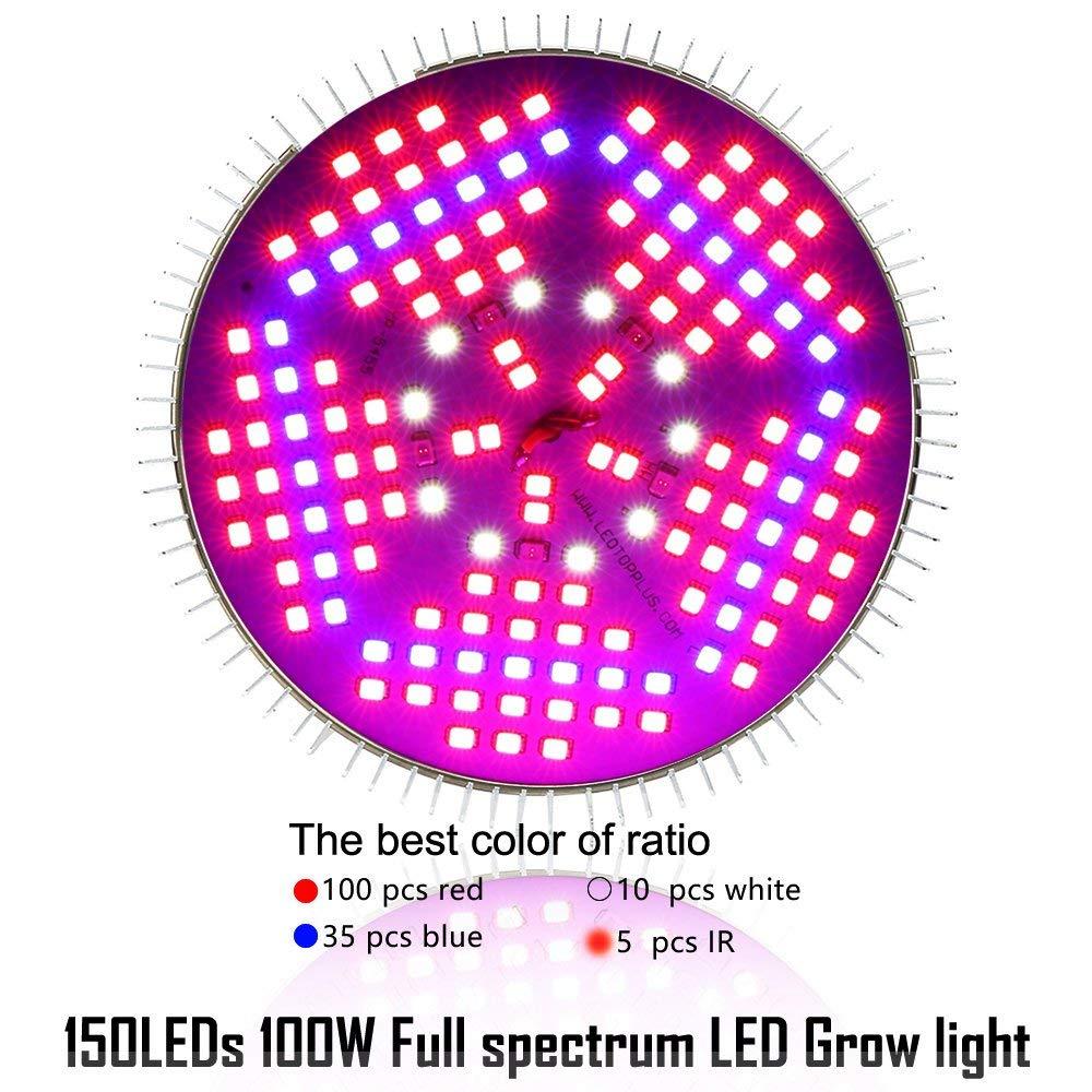 Full Spectrum 150 LEDs Indoor Plants Growing Light Bulb Lamp EnerEco 100W LED Plant Grow Light Bulb