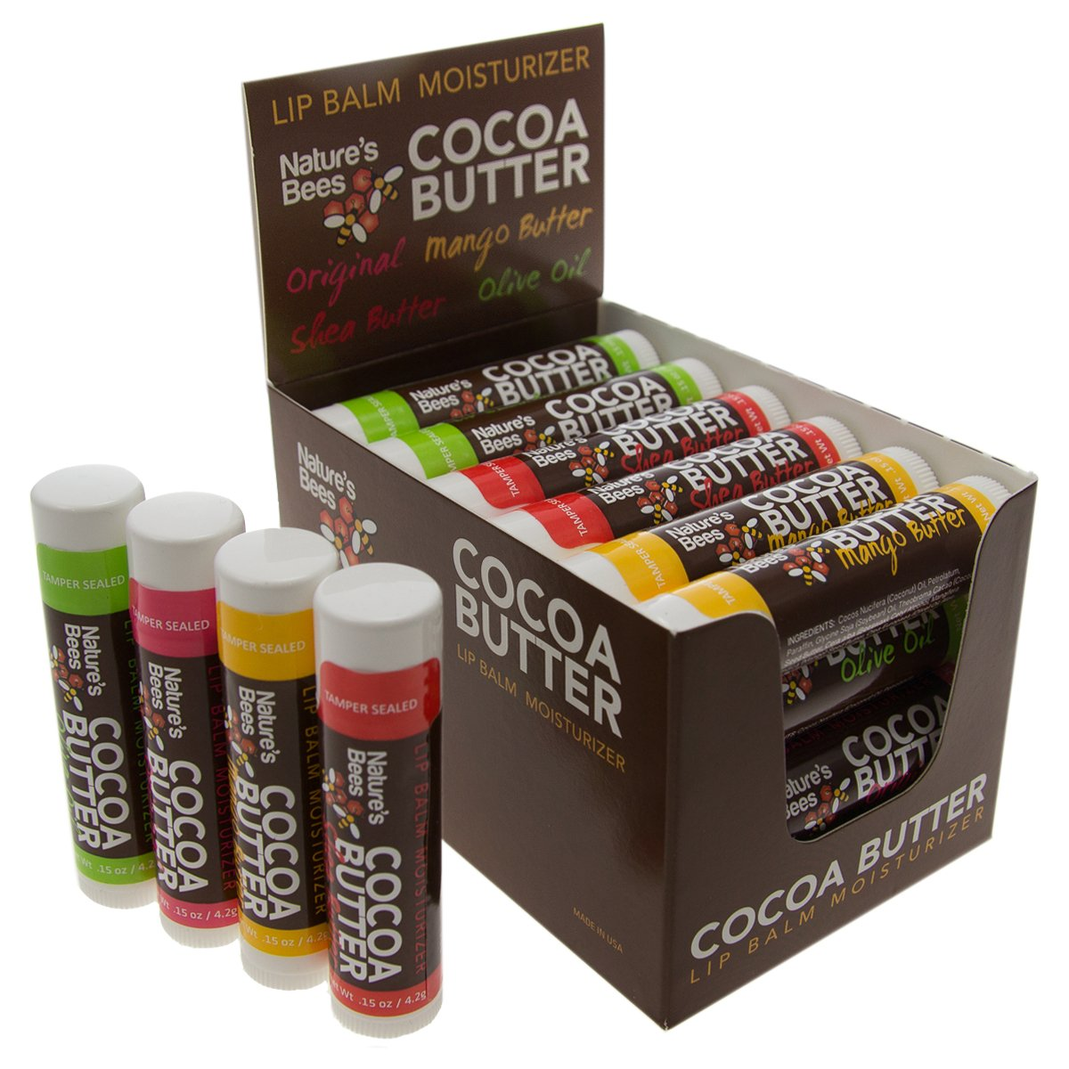 Nature's Bees, Cocoa Butter Lip Balms, Original Mix, Display Box, with Shea Butter - Pack of 24 by Nature's Bees