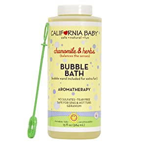 California Baby Chamomile and Herb Bubble Bath | No Tear | Pure Essential Oils for Bathing | Hot Tubs, or Spa Use | Moisturizing Organic Aloe Vera and Calendula Extract |(13 fl. ounces)