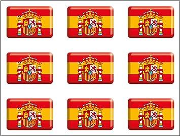 Artimagen Pegatina Bandera Rectángulo 9 uds. Escudo España Resina ...