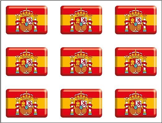 Artimagen Pegatina Bandera Rectángulo 9 uds. Escudo España Resina 16x11 mm/ud.: Amazon.es: Coche y moto