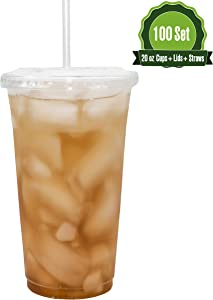 Safeware [100 Sets - 20oz.] Disposable Clear Plastic to go Cups with Flat Lids and Straws | Ice Coffee | Bubble Tea | Smoothie | Cold Beverage | Milkshake | Travel.