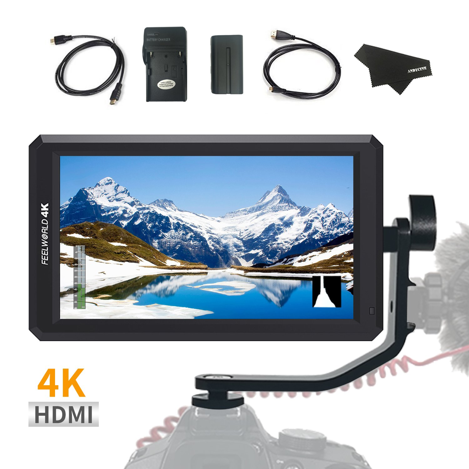 FEELWORLD F6 5.7Inch FHD IPS On Camera 4K HDMI Monitor with Swivel Arm and 8V DC Power Output F550 Battery Included Kit(Upgraded firmware) by FEELWORLD