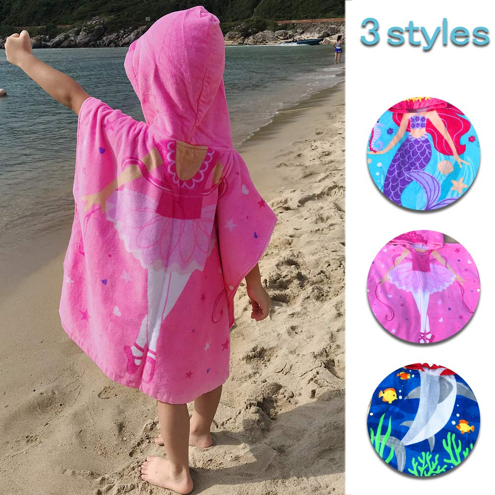 Kids Girls Boys Beach Towels Hooded 2-8 Years 100% Cotton Children Bathrobe Wearable Absorbent Wearable Cute Cartoon Breathable Soft Multi-use Swim Pool Home Outdoor (Girl, 60cm (23.6in) 2-6 Years)