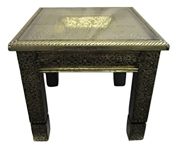 Moroccan Square Silver Table Engraved Metal Arabic Design Furniture End  Table
