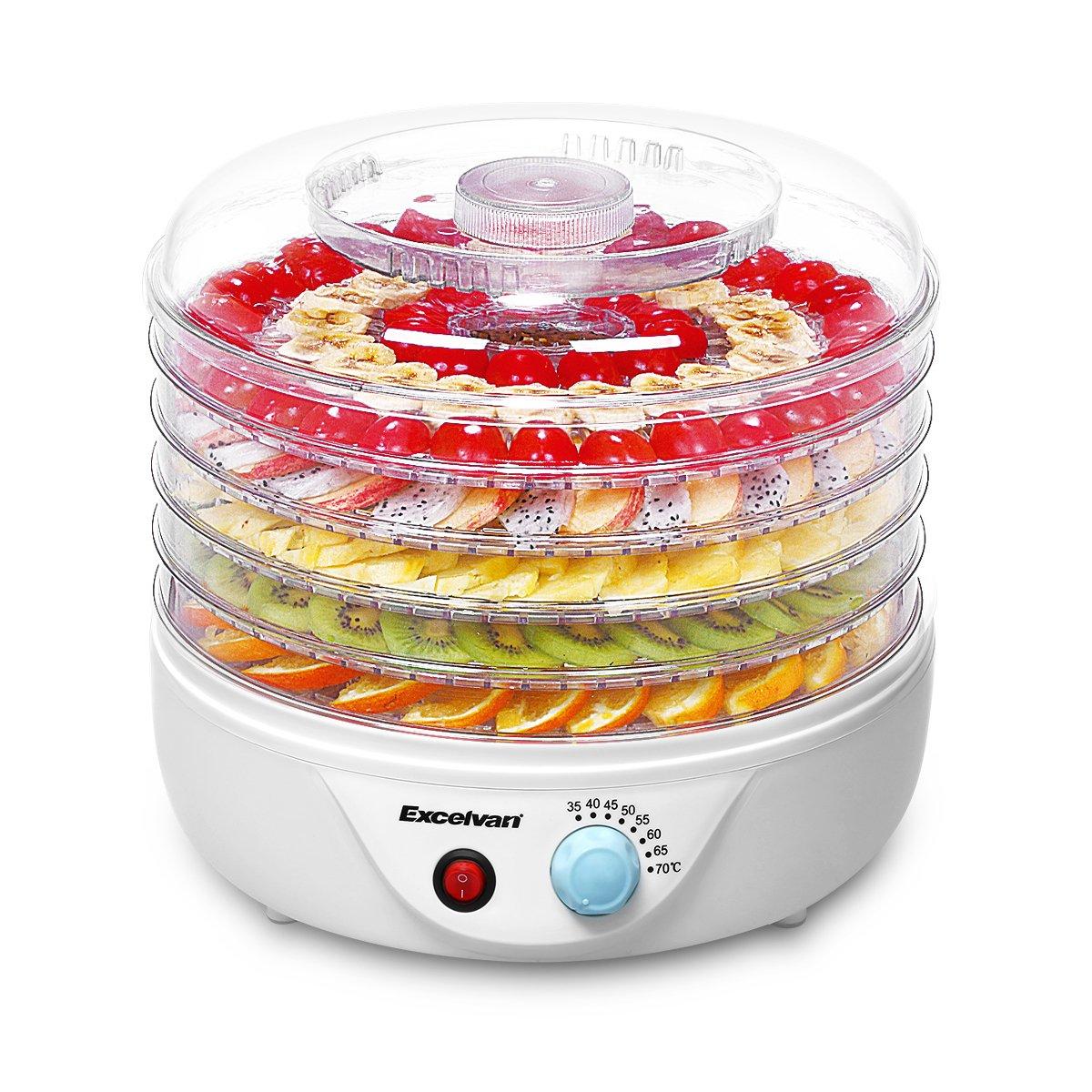 Excelvan 5 Tier 240W Electric Food Fruit Dehydrator Preserver Airflow Circulation with Adjustable Temperature Control Natural Healthy by Excelvan