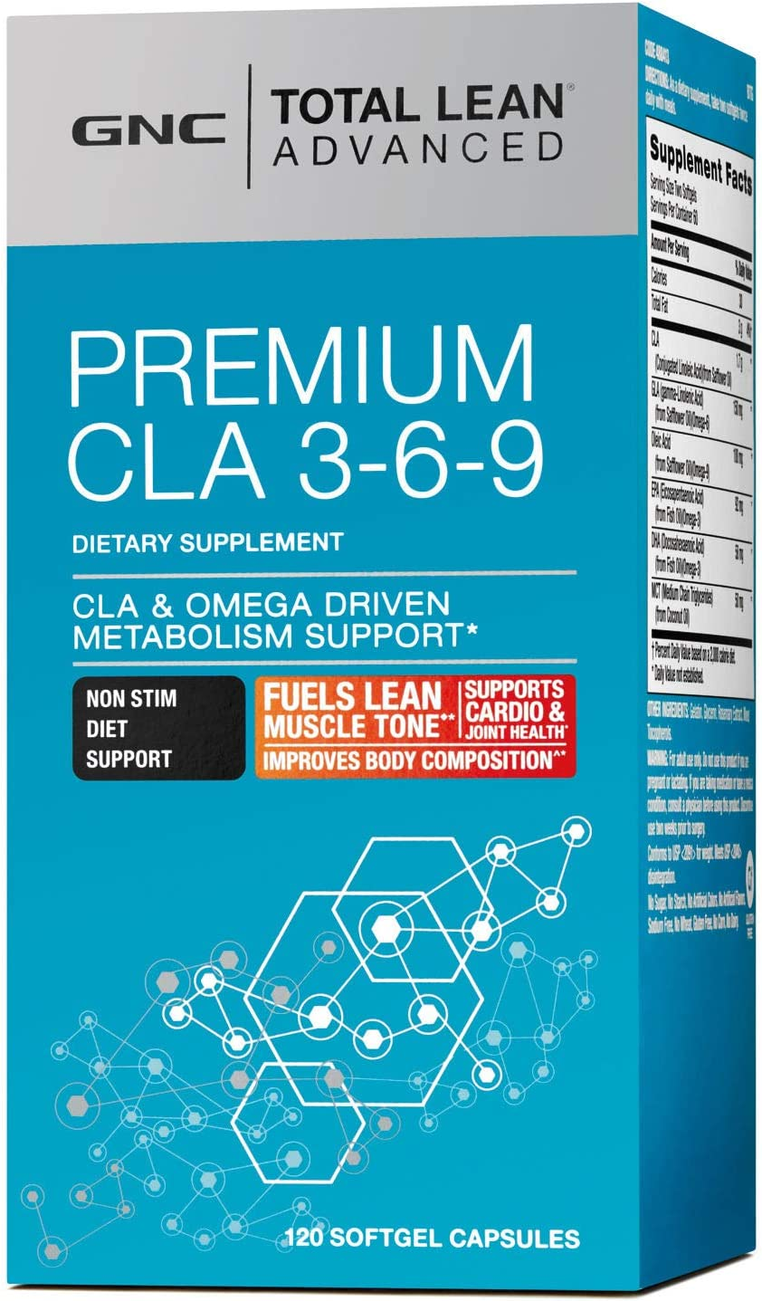 GNC Total Lean Advanced Premium CLA 3-6-9, 120 Softgel Capsules, Supports Exercise and Muscle Recovery