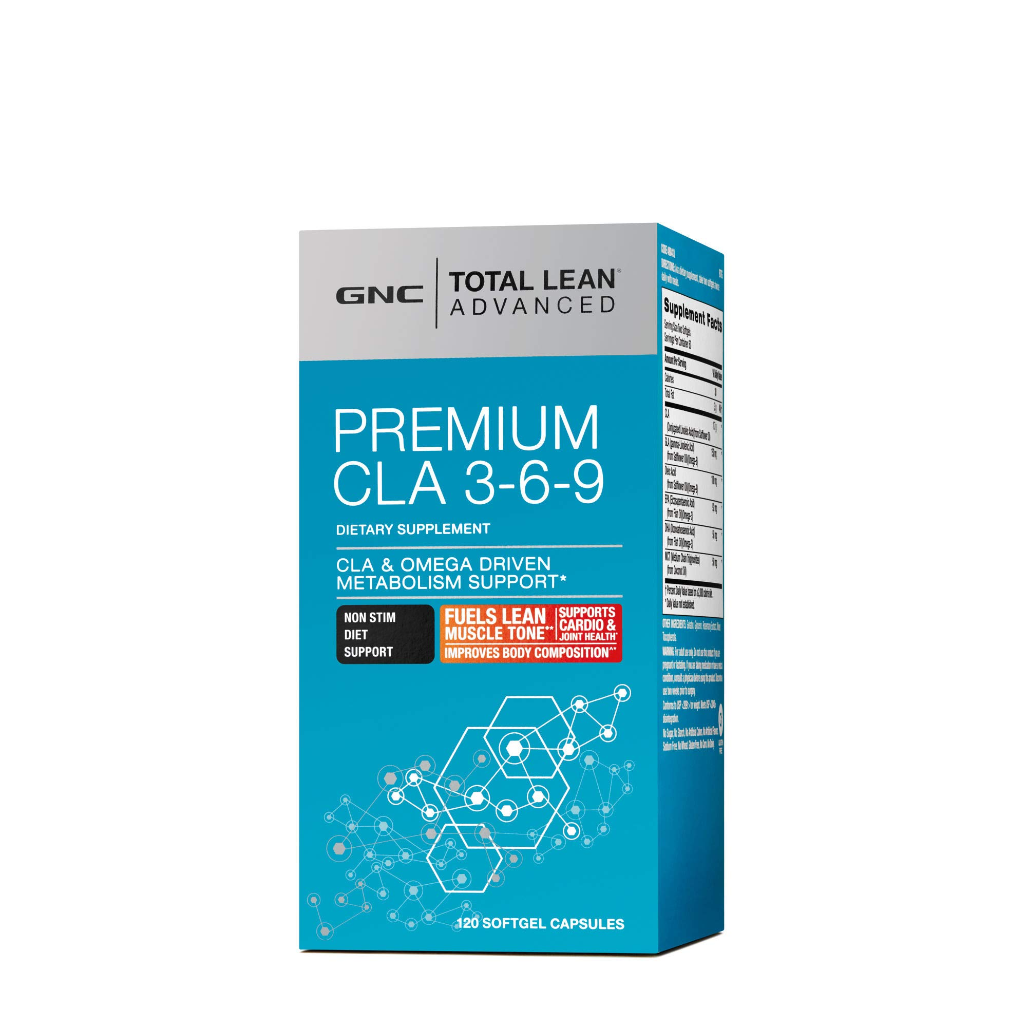 GNC Total Lean Advanced Premium CLA 3-6-9, 120 Softgel Capsules, Supports Exercise and Muscle Recovery by GNC (Image #1)