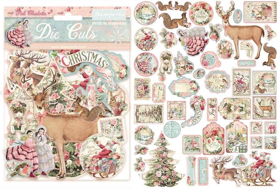 Stamperia Assorted Die Cuts-Pink Christmas Troquel con diseño navideño, Rosa, 15 x 30 cm