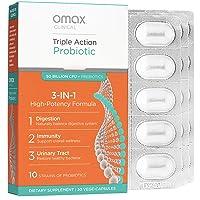 Omax Daily Probiotic & Prebiotic Chicory Root, Probiotics for Women and Men   Immune System Support, Detox, Gut Health, Digestive Health, Vegan, Organic, Gluten Free   30 Vege Capsules