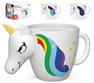 Color Changing Unicorn Mug - 3D Coffee Mugs Rainbow Design, Your morning cup of coffee or tea will never be the same! Our ceramic mugs will start your day with magic rainbows. Great Unicorns Gifts!