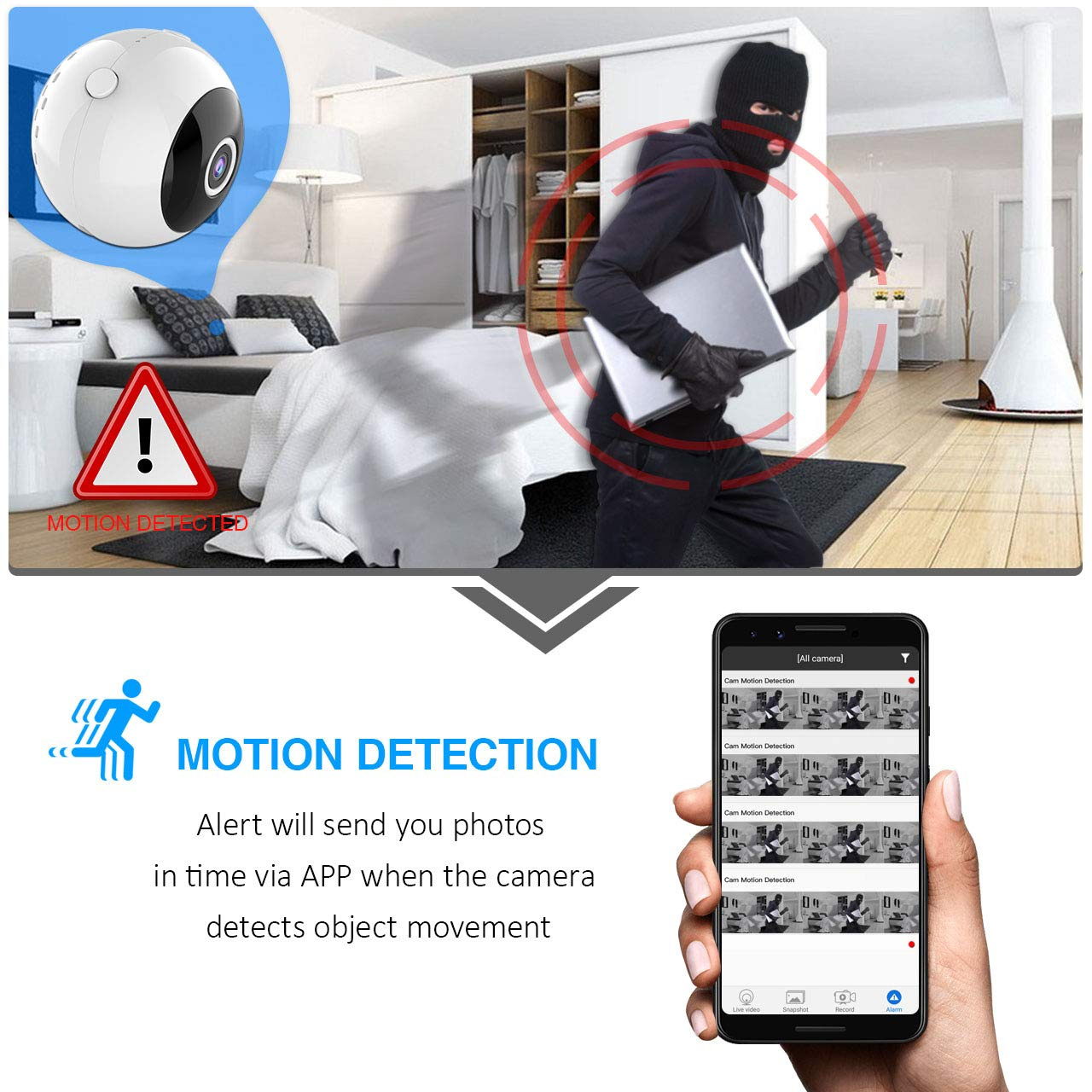 Mini Camera Spy Wireless Hidden Cam 1080P FHD, 150°Wide Angle Portable WiFi  Home Security Cameras with Motion Detection, Superior Night Vision 10 IR
