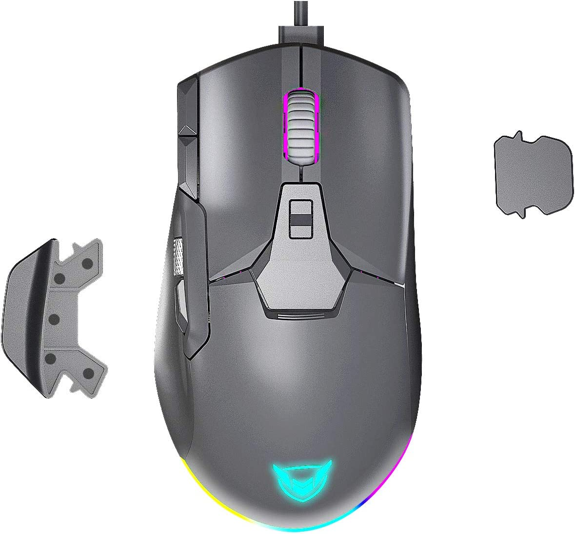 PICTEK Wired RGB Gaming Mouse, Side Metal Scroll Wheel for Volume Control, 8 Button Programmable Mice with Detachable Finger Rests, Fire Button, Sniper Button, Up to 12000 DPI for PC, Laptop, Gray