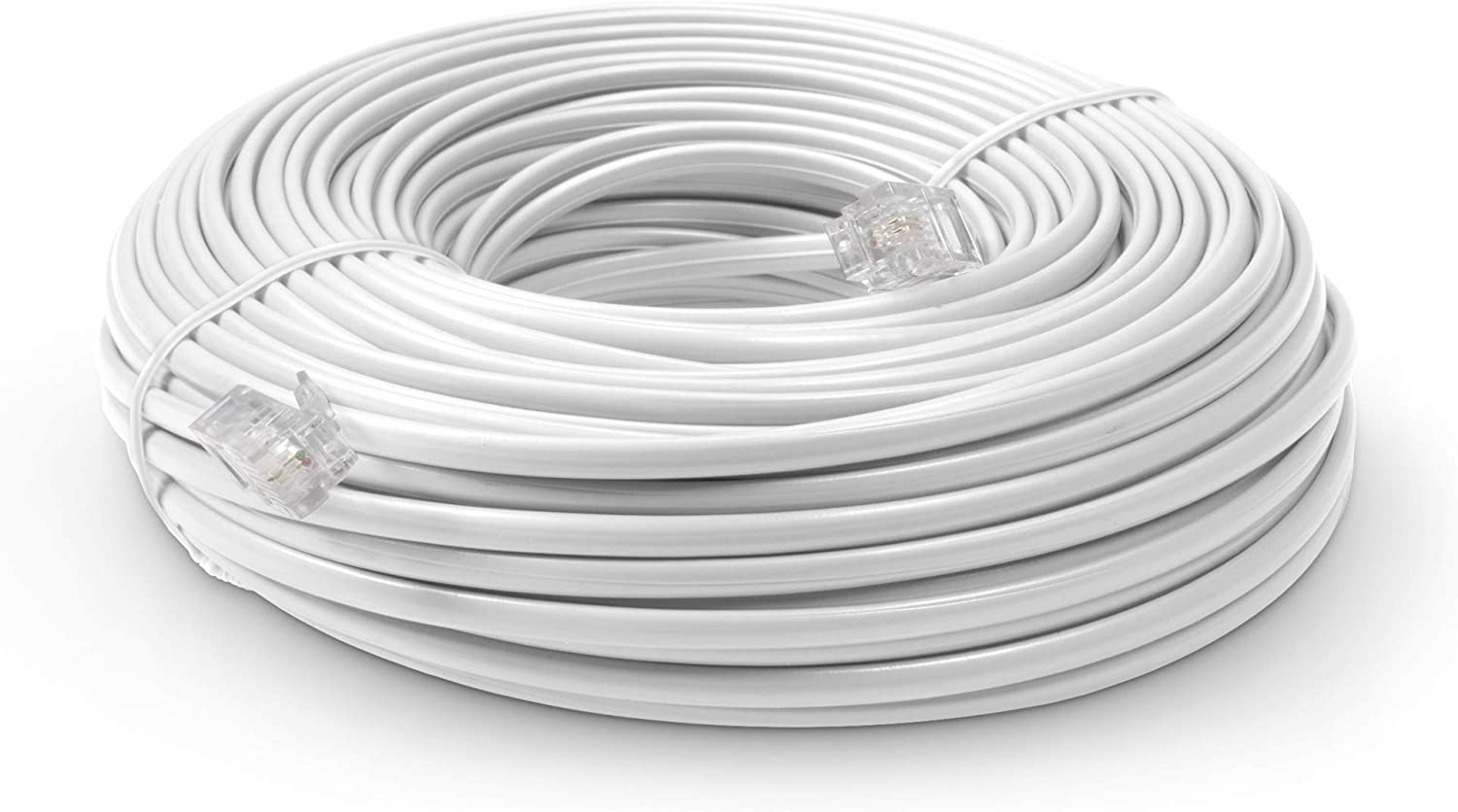 Phone Line Cord 100 Feet - Modular Telephone Extension Cord 100 Feet - 2 Conductor (2 pin, 1 line) Cable - Works Great with FAX, AIO, and Other Machines - White