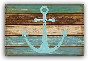 """Vandarllin Blue Nautical Anchor Rustic Old Barn Wood Doormats Non-Slip Indoor/Outdoor/Front Door Mat,18""""x30"""""""