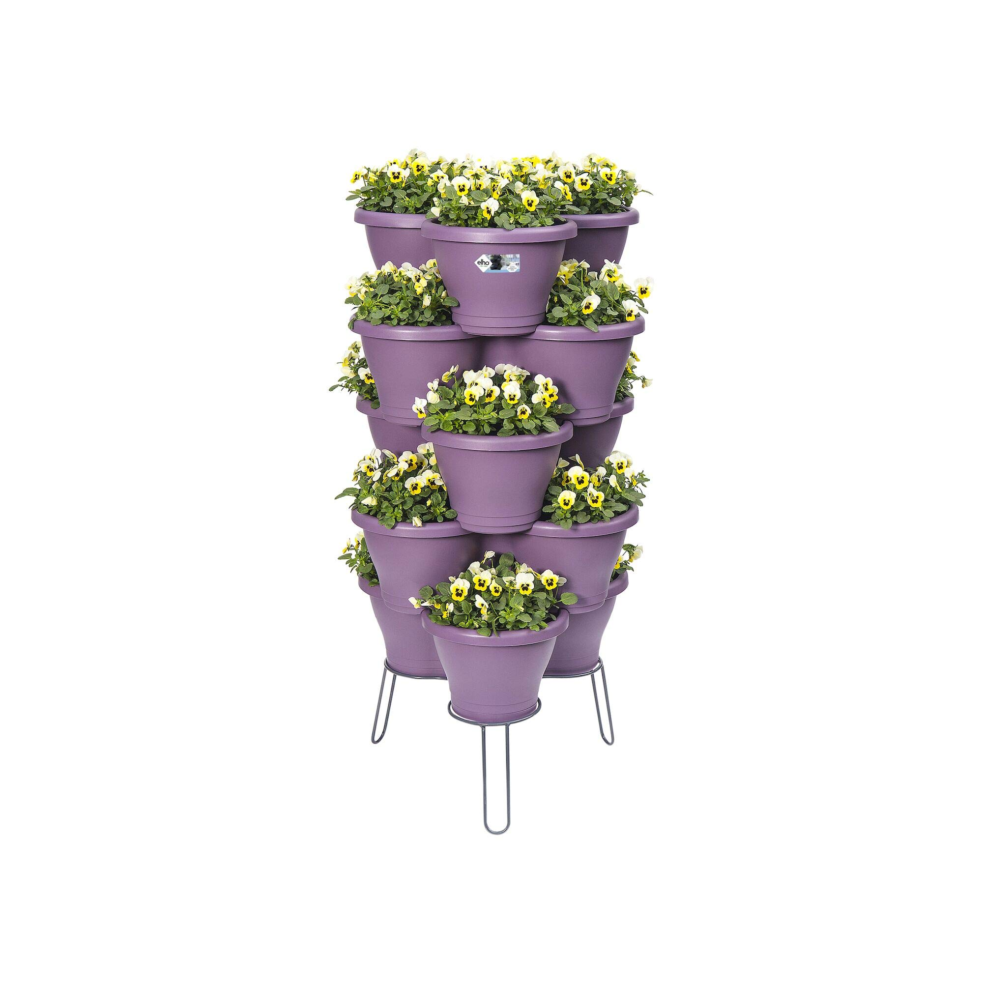 Elho Corsica Vertical Garden Standard M Flower Pot, Anthracite, Made with Recycled Materials
