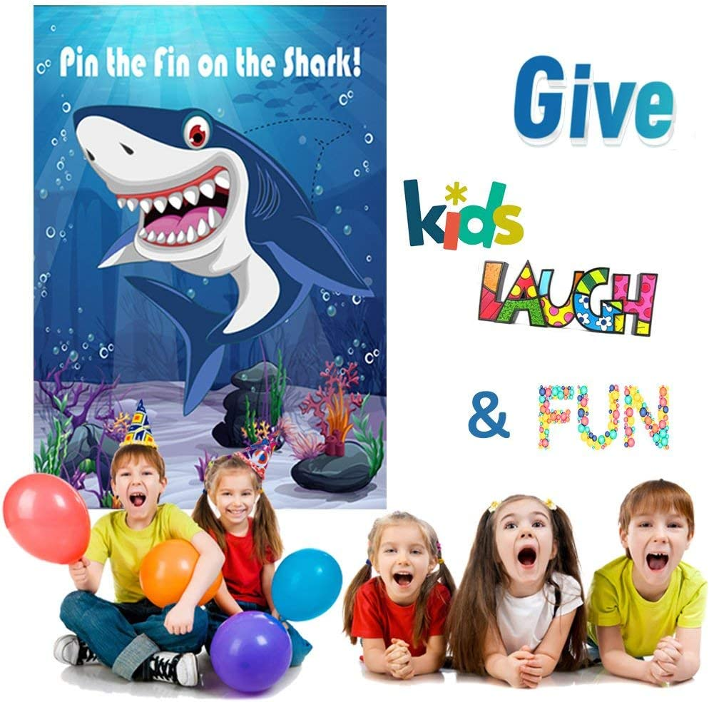 Pin The Fin On The Shark Game Birthday Party Favor Games Baby Shark Party Supplies Decorations 30 Fins CQI