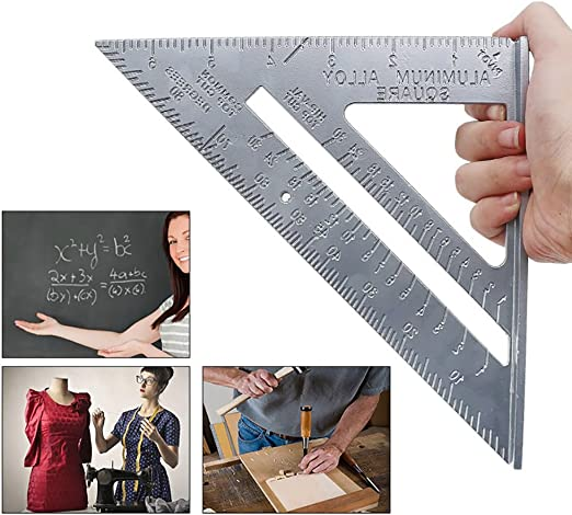 Amazon Com Sishuinianhua 7 Inch Aluminum Alloy Triangle Ruler Angle Rulers 0 1 Accuracy For Carpenter Woodworking Measurement Tools Home Kitchen