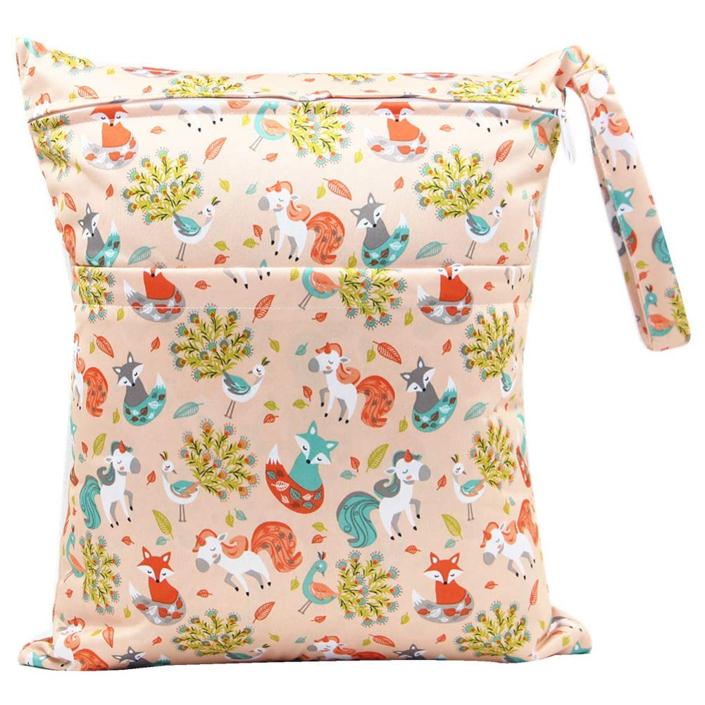 2pcs Cloth Diaper Wet Dry Bags Waterproof Reusable with Two Zippered Pockets Cubs and Foxes
