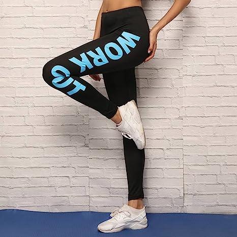 TYERY Leggings para Mujer con Letras y Cintura Media para Yoga, Mezcla de algodón, poliéster y Elastano, Pantalones de Deporte Normales de Moda en la Calle: Amazon.es: Deportes y aire libre