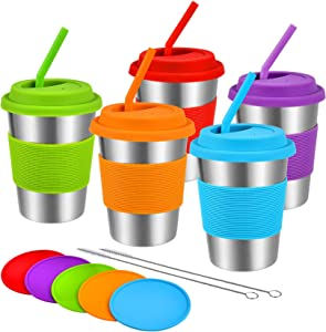 Kids Stainless Steel Cups with Lids Straws Coasters,5 Pack 12oz Toddler Tumbler, Unbreakable Metal Water Glasses, Reusable Drinking Mug, Colorful Stacking Sippy Cup for Children and Adults