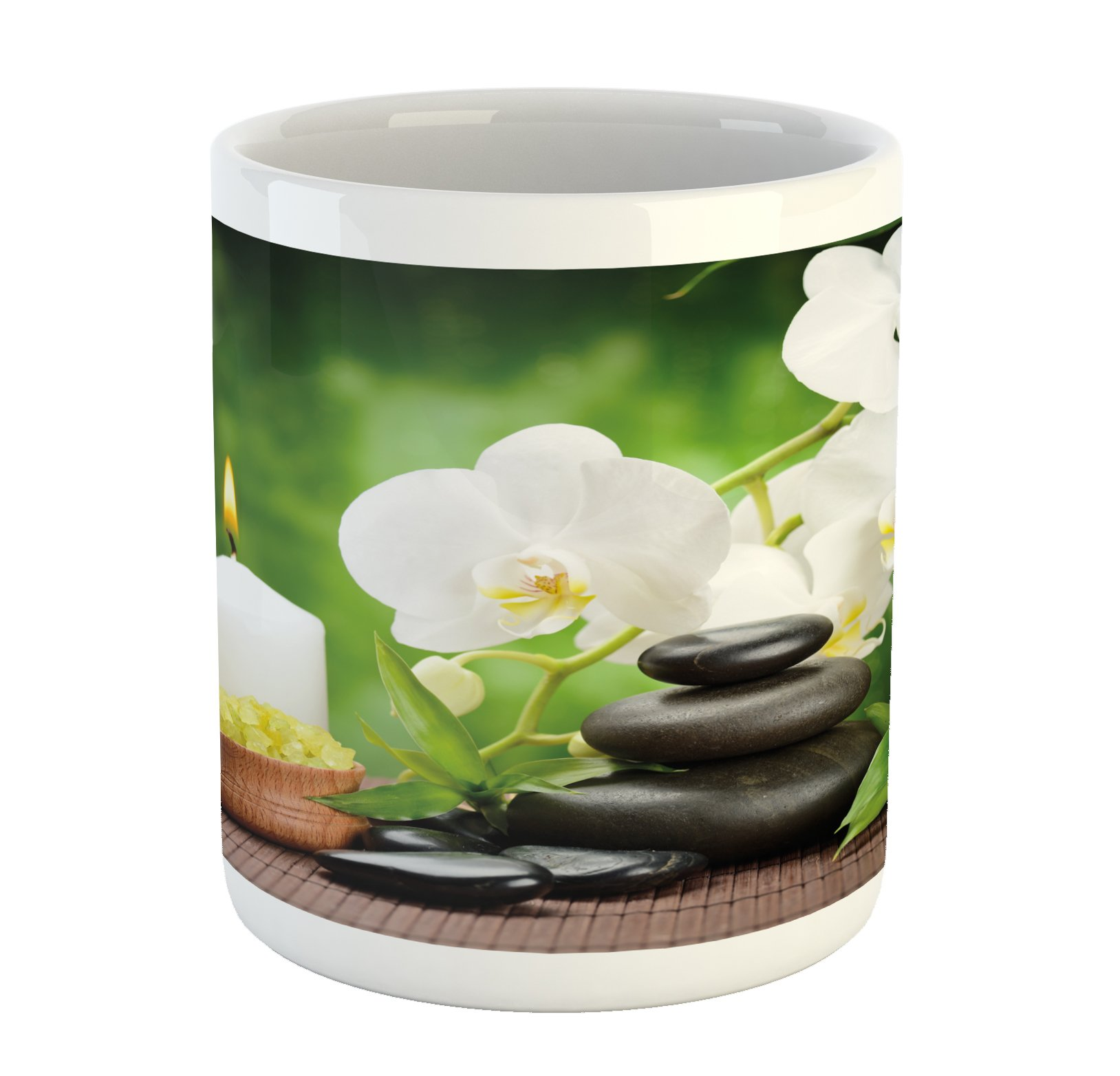 Ambesonne Spa Mug, Zen Stones with Orchid and Candles Green Plants at the Background Print, Printed Ceramic Coffee Mug Water Tea Drinks Cup, White Green and Black