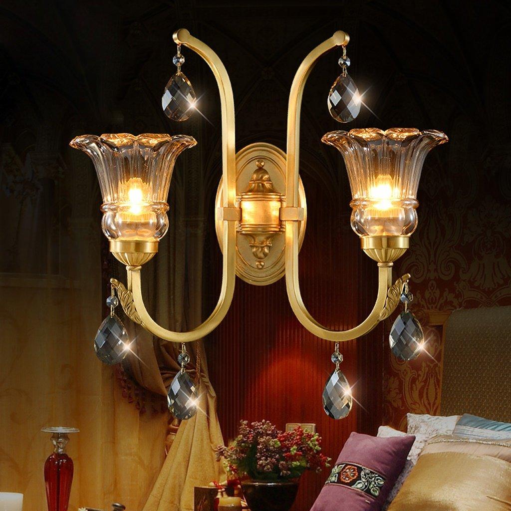 Good thing lampada da parete Lampada di lusso di cristallo di rame Lampada da parete europea della lampada da salotto Lampada da studio semplice della lampada da camera da letto moderna ( colore   Double head )