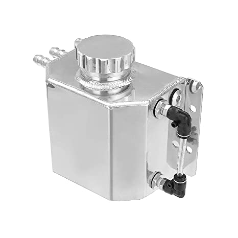 Hwbnde Coolant Overflow Tank Bottle Recovery Reservoir Aluminum Jdm Container Universal 1l Water Radiator Silver
