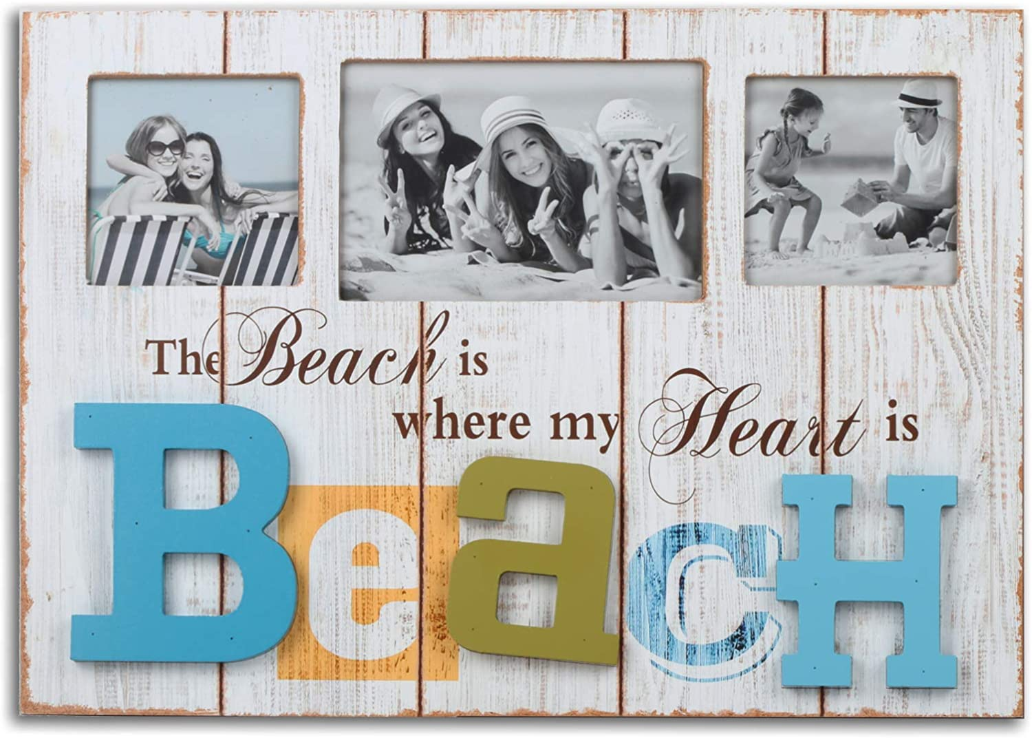 Beach Theme Collage Photo Frame for Home Wall Decor. Rustic Distressed Design with Nautical Theme for Beach House Decoration - Beach Version