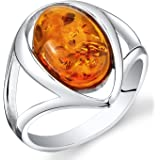 Baltic Amber Ring Sterling Silver Cognac Color Oval Shape Sizes 5-9