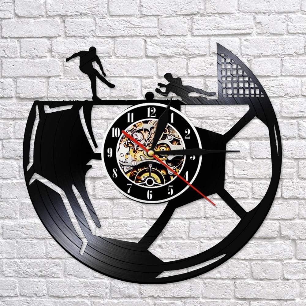 wtnhz LED-Fútbol Retro Disco de Vinilo Reloj de Pared Fútbol Reloj de Pared Deportes Tema Relojes Fans Amantes