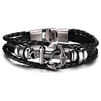 6eb898f73f0c4 Ancre Bracelet, Keewonda l'amitié Bracelets en alliage Cuir en acier ...
