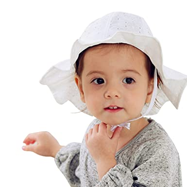 72594aaea92 Image Unavailable. Image not available for. Color  Evelin LEE Baby Infant  Lovely Floral Embroidered Floppy Wide Brim Sun Cap Summer Outdoor Baby Girl