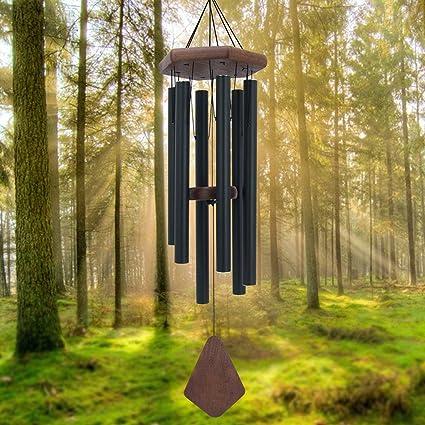 Gravé Bambou Bois Memorial Wind Chimes Outdoor deuil cadeau décoration maison J
