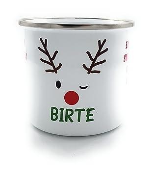 Weihnachtsmarkt I.Kinderlampenland Emaille Tasse Ein Glühwein Mit Rentier Und