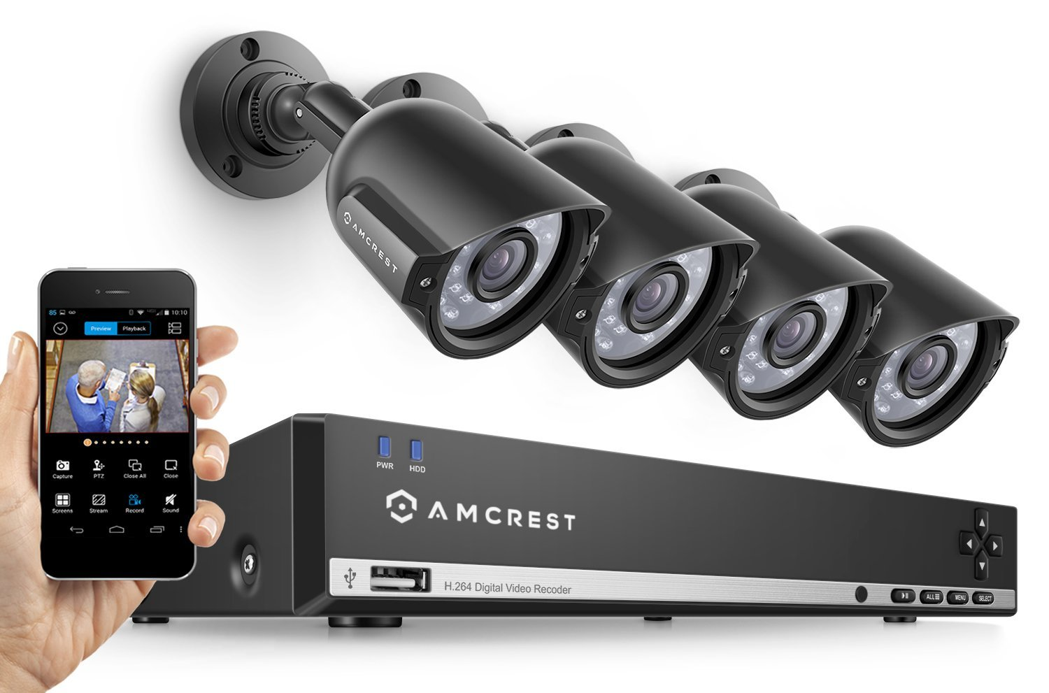 Amcrest UltraHD 4-Megapixel 4CH Video Security System with Four 4.0MP Outdoor IP67 Plastic