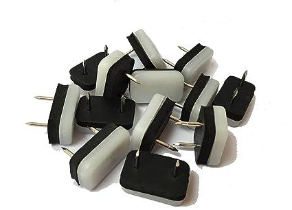 Protectores Design61 8 de los muebles de la silla de protectores para proteger el suelo 30 x 18 mm con clavo y tope de goma de colour blanco-negro