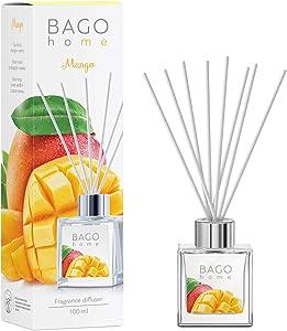 BAGO home Fragrance Oil Reed Diffuser Set - Mango   Mango, Pineapple & Sweet Vanilla Notes   100 ml 3.4 oz