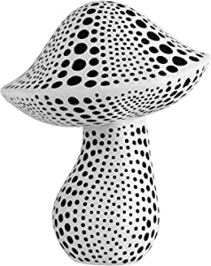 Mushroom Statue Decor (White) Small Crafted Figurines for Home Decor Accents, Living Room Bedroom Bathroom Office Decoration, Book Shelf TV Stand Ornament - Decorative Sculptures Collection BFF Gifts