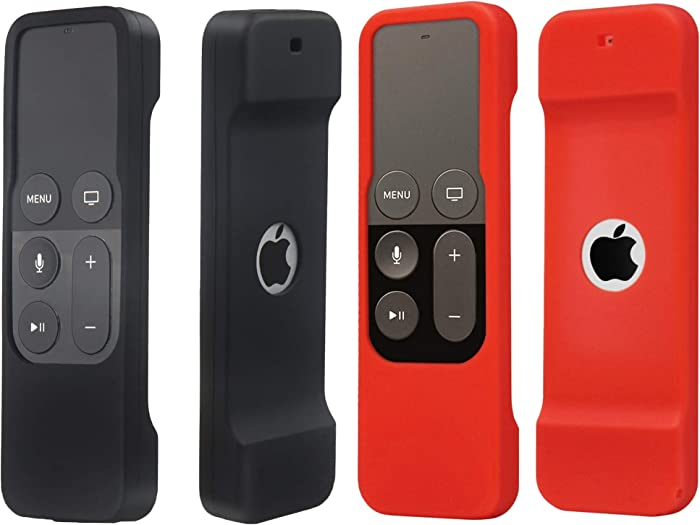 2 Pack Remote Case Compatible with Apple TV 4K/5th and 4th Generation - Auswaur Shock Proof Silicone Remote Cover Case Compatible with Apple TV 4 and 4K/5th Gen Siri Remote Controller - Black Red