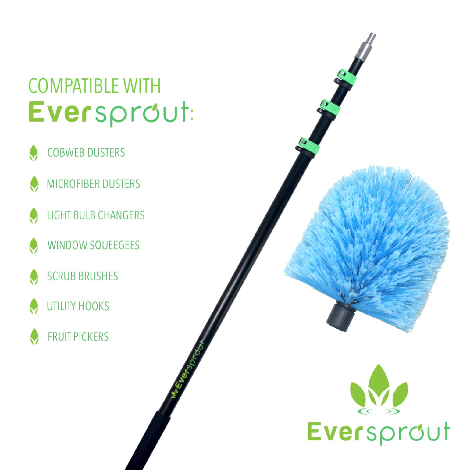 EVERSPROUT 7-to-25 Foot Cobweb Duster and Extension-Pole Combo (30 Ft. Reach, Soft Bristles) | Hand Packaged | Heavy-Duty, 4-Stage Aluminum Pole | Indoor & Outdoor Use Brush Attachment by EVERSPROUT (Image #2)