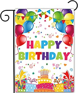 Allenjoy Happy Birthday Garden Flag for Outside Vertical Kids 1st Birthday Event Party Supplies Banners House Lawn Yard Porch Sign Patio Outdoor Decorations 12x18 Inch Double Sided Washable Polyester