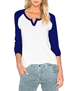 Thanth Womens Casual V Neck Long Sleeve Cotton Loose Fit Blouse T-Shirt Tops