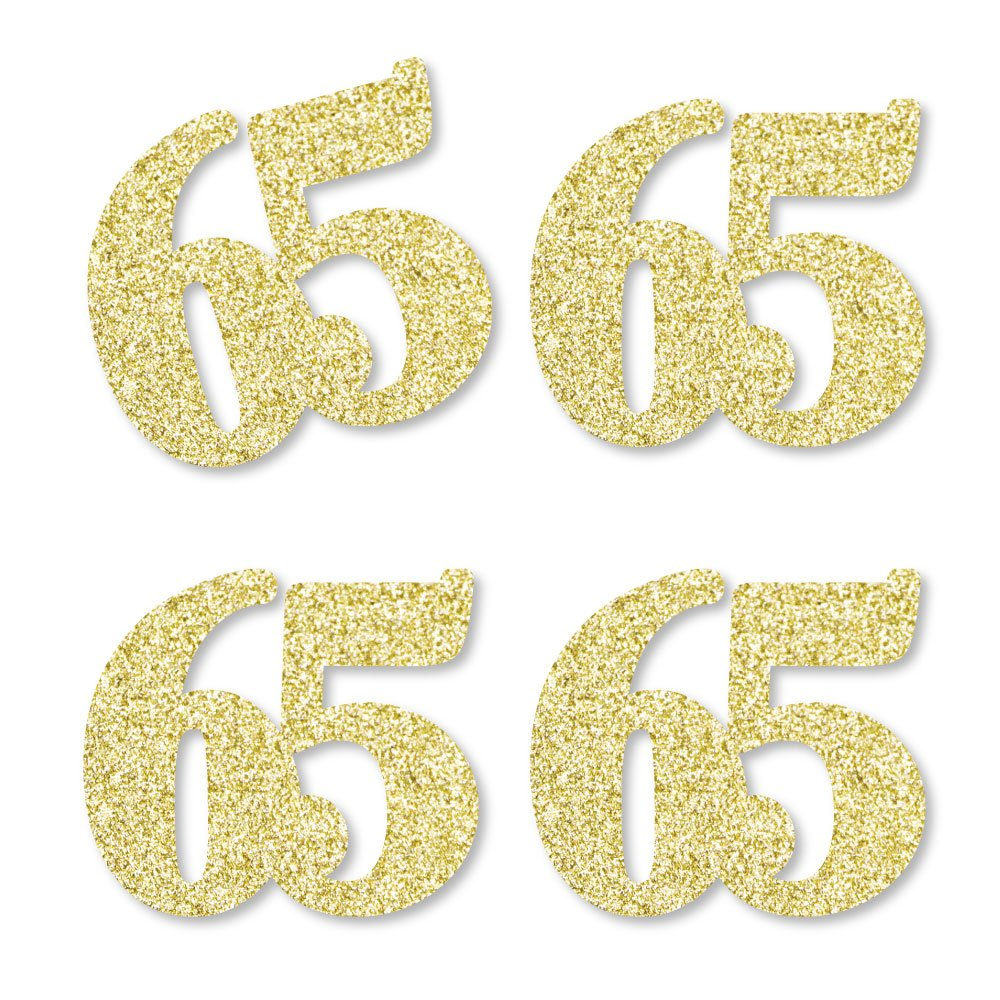 Gold Glitter 65 - No-Mess Real Gold Glitter Cut-Out Numbers - 65th Birthday Party Confetti - Set of 24