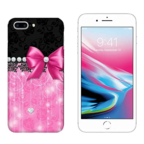 Generico Cover Apple Iphone 8 Plus Fiocco Su Sfondo Rosa E Nero