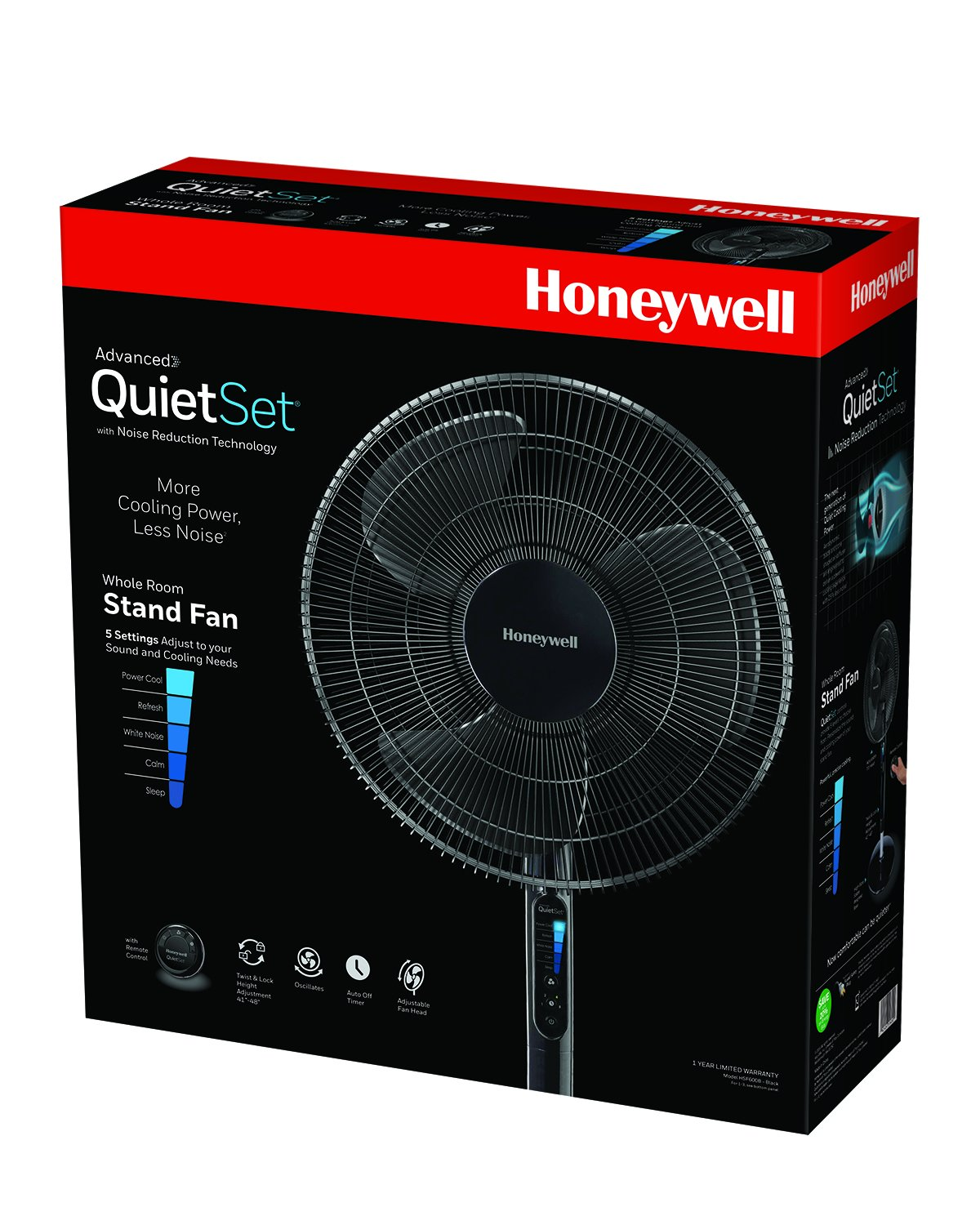 Honeywell Advanced QuietSet with Noise Reduction Technology 16 Whole Room Pedestal Fan HSF600B