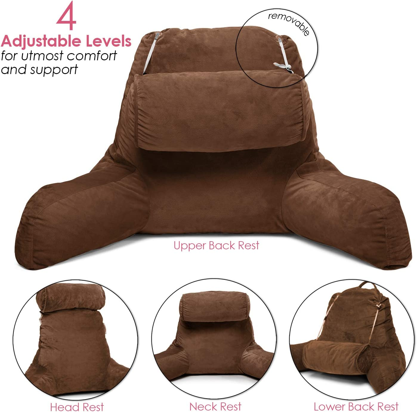 Clara Clark Bed Rest Reading Pillow with Arms and Pockets Premium Shredded Memory Foam, Detachable Neck Roll & Lumbar Support, Large, Brown: Home & Kitchen